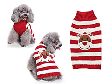 Tineer Pet Xmas Pull-Overs - Pull Chiot Sweater à Capuche Tricots Halloween Cartoon Chaud Manteau vêtements de Noël pour Petits Chiens Moyens Chats Lapins (M, Elk Red Strip)