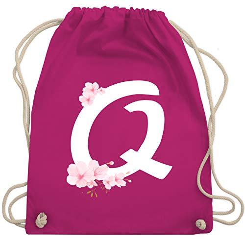 Shirtracer Buchstaben Initialen Geschenk - Buchstabe Q mit Kirschblüten - Unisize - Fuchsia - turnbeutel q - WM110 - Turnbeutel und Stoffbeutel aus Baumwolle
