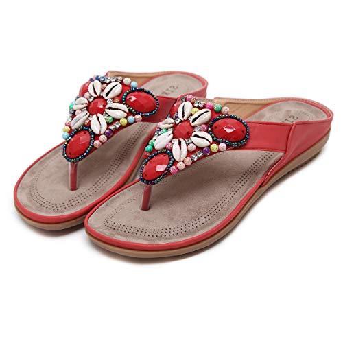 Sandalias de Dedo Mujer,Playa Zapatos de Verano,Chanclas de Planas Bohemia,Talla Grande 34-44