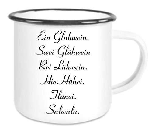crealuxe Emaille Tasse mit Rand EIN Glühwein, swei glühwein. - Kaffeetasse mit Motiv, Campingtasse Bedruckte Email-Tasse mit Sprüchen oder Bildern