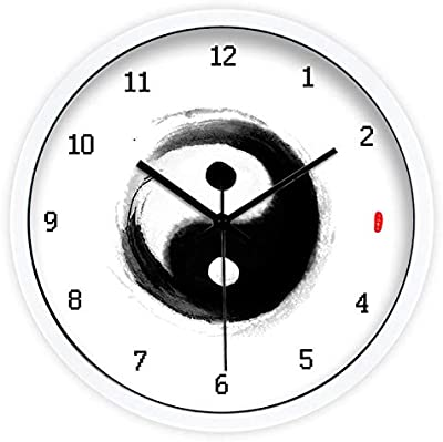 Imoerjia Modern Minimalist Creative Ink and Wash Gossip Tai Chi Living Room Bedroom Quartz Clock Mute