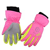 Azarxis Kinder Handschuhe Winter Ski Handschuhe für Kinder Mädchen Jungen Radfahren Skifahren Snowboarden (Rose Rot, XS (3-5 Jahre))
