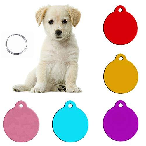 Hondenmerk, 5 stuks, gepersonaliseerd, puppe, rond, wit, naam, ID-tags, tags, ketting, sleutelhanger, halsband om zelf te maken, 5pcs, Diep blauw