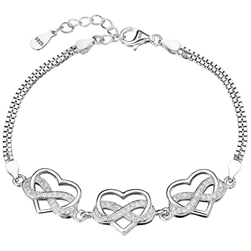 EleQueen 925 Sterling Silver CZ Double Strand Infinity Figure 8 Love Heart Bracelet Chain