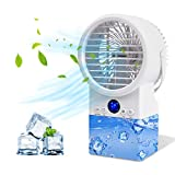 Jeenone Portable Air Conditioner Fan, Personal Air Cooler 4 in 1 Space Mini Evaporative Air Cooler Ultra-Quiet Personal Air Conditioner with 7 Colors Night Changing Desk Table Fan for Home Office