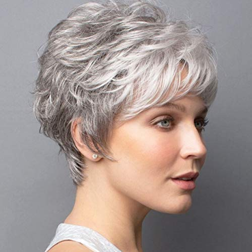 ELIM Grey Wigs for White Women Short Gary Curly Female Wig Full Synthetic Hair Womens Wigs with Wig Cap Z140