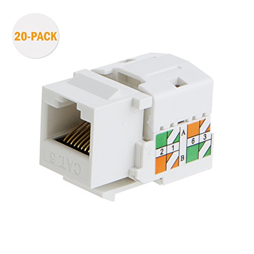 CableCreation 20-Pack Cat6 RJ45 Keystone Jack Module Connector Network Coupler Ethernet Wall Jack, White