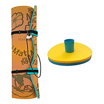 Aqua Lily Pad 20 Ft Maui Water Playground Floating Foam Island Mat Orange/Teal and Reversible Floating Beverage Holder Cocktail Caddy Teal  2 Pack