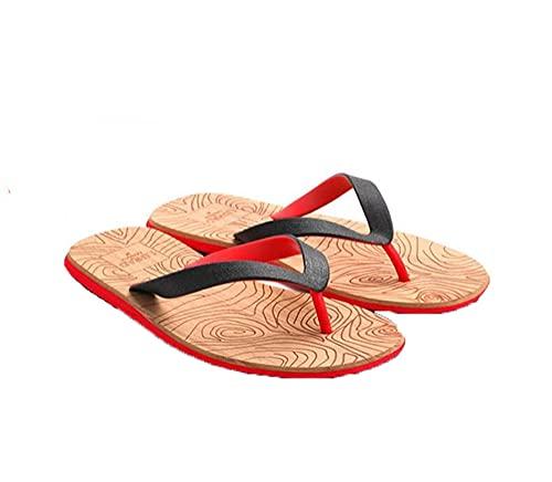 RRGG Chanclas, Sandalias Planas para Hombre de Grano de Madera, Chanclas Antideslizantes Zapatos de Playa-Red_44, CuñAs Mujer