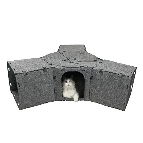 X@HE DIY Cat Felt House and Tunnel, Multi-Function Kitty Tunnel Bored Cat Pet Toys,Funny Cat Toys Tunnel for Rabbits, Kittens