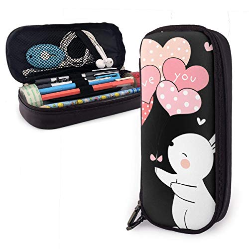 Pencil Case Pen Bag Valentines Day Rabbit Holding Balloon Love You Pencil Case, Large Capacity Pen Case Pencil Bag Stationery Pouch Pencil Holder Pouch with Big Compartments