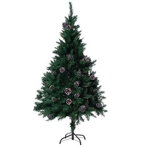 クリスマスツリー 『100種類から選んだ本物のツリー』 150cm 120cm まつぼっくり 松かさ コンパクト収納可能 (グリーン 松かさ付き, 150㎝)