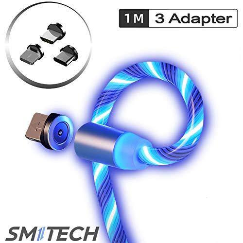 Smitech Magnetisches Ladekabel 3 in 1 USB Ladekabel Magnet- mit fließendem LED Licht kompatibel mit Micro-USB/USB C/Lighting für Phone, Samsung Galaxy, Huawei und Mehr 1-Meter (Blau)