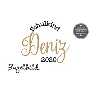 Bügelbild Schulkind 2020 mit Name Kalligraphie in Flex, Glitzer, Flock, Effekt in Wunschgröße