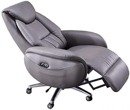 YUYTIN Boss Bürostuhl High Back Leder Executive Bürostuhl Justierbarer Swivel Electric REVINING BOSS Sessel Ergonomischer Computer Stuhlstuhl mit einziehbarer Fußstütze