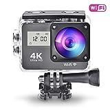 Caméra d'action Sport 4K Full HD WiFi avec Télécommande, Caméscope 130 °Grand-Angle avec 2 Pouces LCD Écran Tactile et avec...