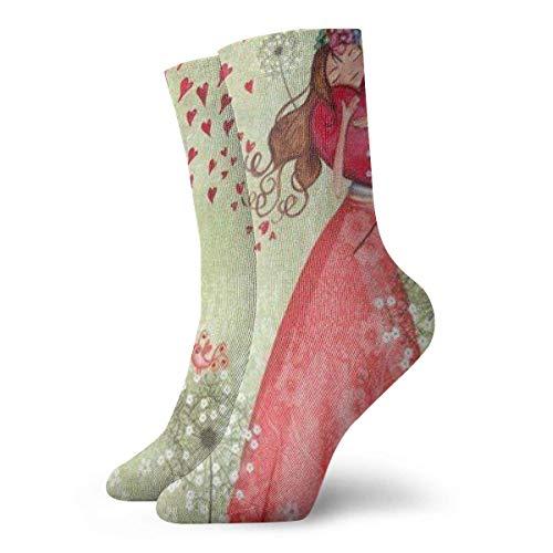 NGMADOIAN grappige gekke Crew sok Valentijnsdag meisjes liefde gedrukt sport sokken 30cm lang gepersonaliseerde cadeausokken
