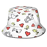 Sombrero de Pescador Rojo Love y Sn-oopy, protección UV de Verano, Sombreros de Cubo de Viaje, Gorra de Sol Plegable para Playa para Hombres y mujeres-W10