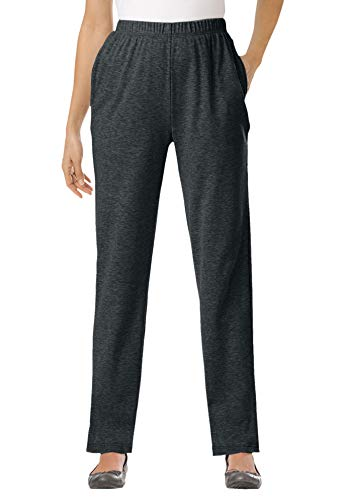 Woman Within Women's Plus Size 7-Day Knit Straight Leg Pant - L, Heather Charcoal Gray