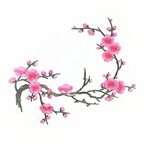 ROSENICE Aufnäher Bügelbild Applikationen Stickerei Rosa Pflaume Blüte Blume Aufkleber Sticker