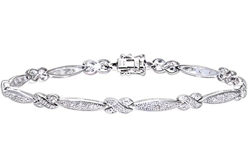 Naava vrouwen 9 ct wit goud 0.20ct Pave Set Diamant Kus en Bar Armband