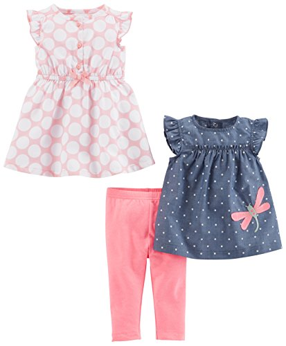 Simple Joys by Carter's Baby Girls' 3-Piece Playwear Set, Pink Dot/Chambray, 0-3 Months