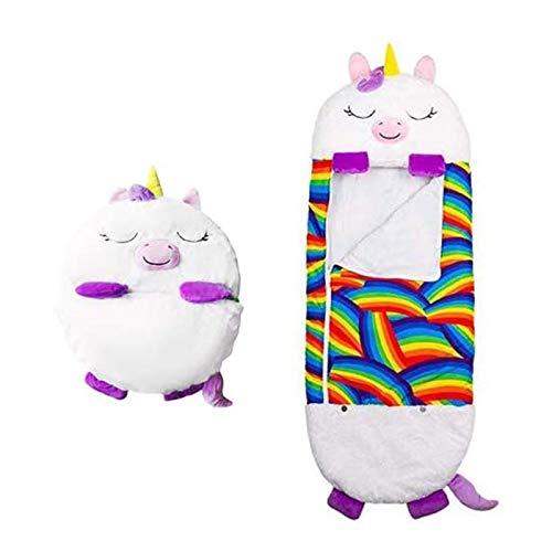 YTTde Bolso de Dormir para niños 2 en 1 Animales de Dibujos Animados Almohada Plegable Nappers Feliz Nappers Bolso para Dormir Almohada para niños S Viajes/Play/Juguete,Blanco