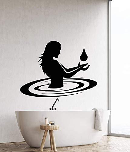 wZUN Vinyl Wandaufkleber Dekoration nackte Mädchen Wassertropfen Aufkleber Familie Badezimmer Hotel Bad Mode Dekoration 87x63cm