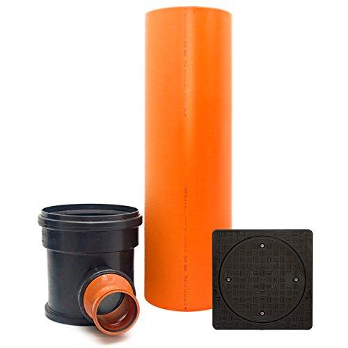 KG Kontrollschacht Revisionsschacht Abwasserschacht Schacht DN315 / 2 x DN125, Rohr, Deckel quadratisch voll, Komplett SET