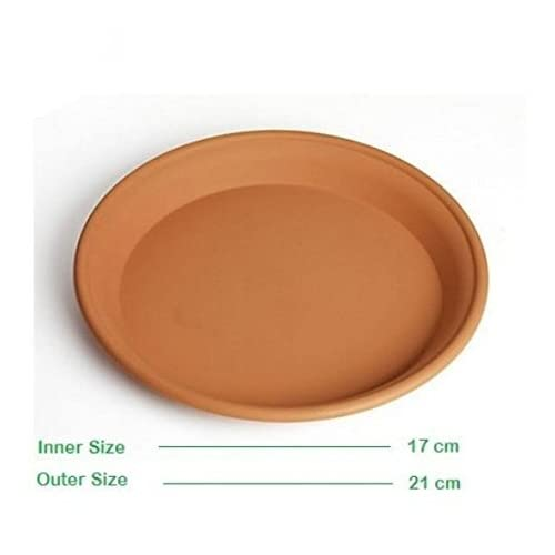 Minerva Naturals 10 Inch Bottom Tray For 10 Inch Conical Shape Pot Terracotta Color (Set Of 5) ( 8'' X 8'' X 1'')
