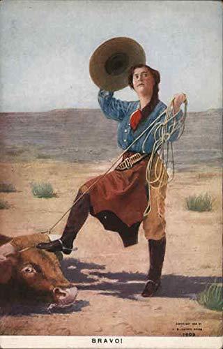 Cowgirl Lassos Bull While Tipping Hat Cowboy Western Original Vintage Postcard