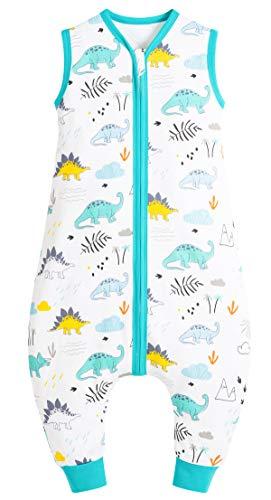 Chilsuessy Saco de dormir de verano con pies, 0,5 tog, 100 % algodón, saco de dormir de verano para niños y niñas, parque de dinosaurios, 90 cm, altura del bebé 100-110 cm