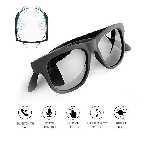 Knochenleitung Bluetooth-Brille Drahtlose Bluetooth-Kopfhörer Sonnenbrille sweatproof wasserdicht Sport-Headset für iOS Android (schwarz)