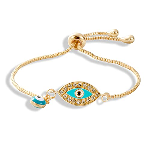 Moda regolabile color oro catene charms bracciali malocchio forniture per le donne bracciali occhio greco lunghezza 21 cm