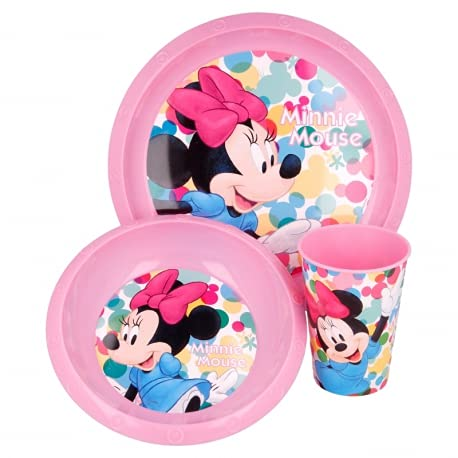Set Stoviglie Servizio da Tavola per Bambini 3 Pezzi con Piatto, Ciotola e Bicchiere Easy 260 ml in confezione regalo (Minnie)