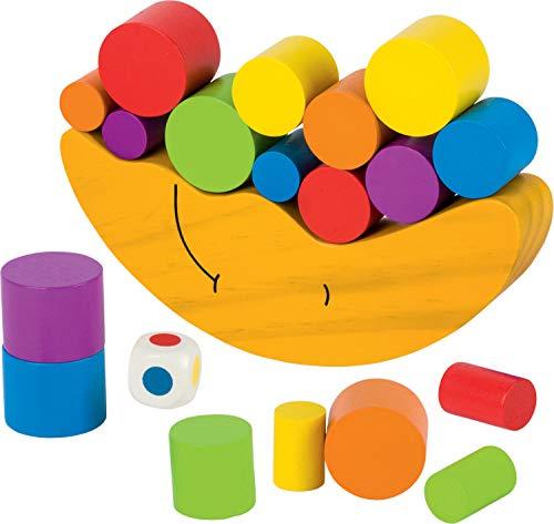 cama24com Balancierspiel Geschicklichkeitsspiel Mond aus Holz von goki Stapelspiel mit Palandi® Sticker