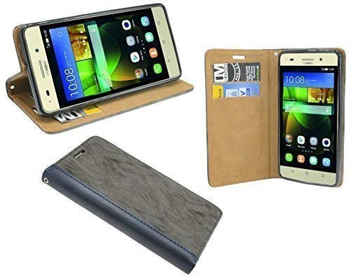 Huawei G PLAY MINI // Buchtasche Hülle Case Tasche Wallet BookStyle mit STANDFUNKTION in Anthrazit @ Energmix