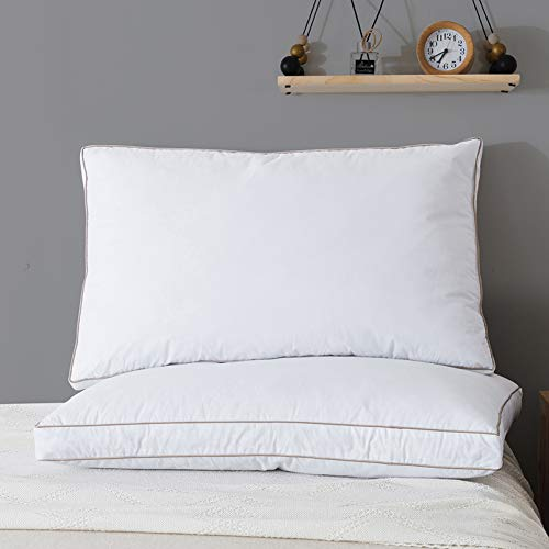 BAIWANG Goose Feather Down Pillow - Luxury White Bed Pillow for Sleeping,100% Cotton Fabric Cover,Set of 2 Standard Size