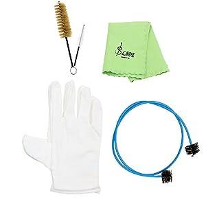 Andoer® Blechblasinstrument Trompete Posaune Tuba Hupe Reinigungsset SatzWerkzeug mit Reinigungstuch Bürste Korkfett Handschuhe
