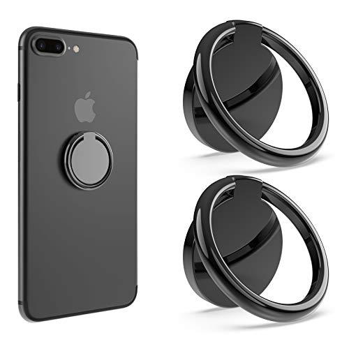 Bonslan Anillo Soporte Móvil,Titular teléfono Anillo Soporte para Movil 360° rotación,Soporte Teléfono,Ring Stand Holder para iPhone Tablet y Smartphone Universal -Negro