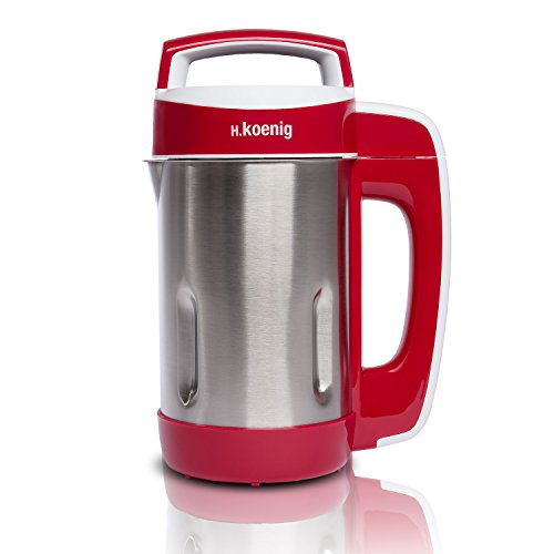H.Koenig MXC18 Soup Maker frullatore, 850 W, 1.1 Litri, Acciaio Inossidabile, plastica, 4 velocità, Rosso