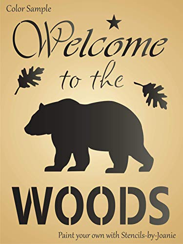 """Joanie 9""""x12"""" Stencil Welcome to Woods Bear Oak Leaf Rustic Country Mountain Cabin Art DIY Signs"""