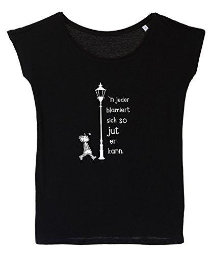 Spruch T-Shirt - blamiert - Damen/Berliner Sprüche Statement T-Shirt vom Label SPREEklamotte Mode Shirt Schwarz - Oversized Oberteil - XXL
