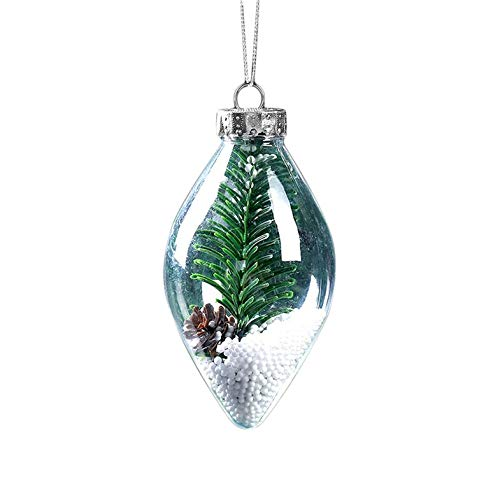 CamKpell Puntas Puntiagudas Forma Transparente Bola de Navidad Adorno DIY Árbol de Navidad Ornamento Decoraciones...