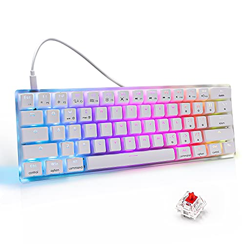 MIHIYIRY US Layout 60% Hot Swappable Mechanical Keyboard, RGB Backlit 61 Anti-ghosting Keys USB Wired Computer Keyboard Quick-Response Ergonomic Keyboard Suitable for Office and Games(Red Switch) …