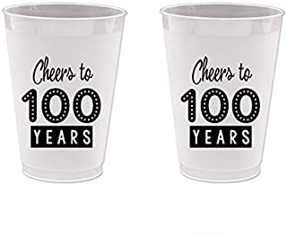 100th Birthday Frost Flex Plastic Cups - Cheers to 100 Years (10 cups)