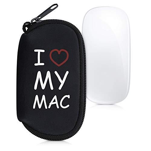 kwmobile Custodia in Neoprene con Zip Compatibile con Apple Magic Mouse 1/2 - Astuccio Porta Mouse PC - Sacchetto con Cerniera - Borsa - I Love My Mac Bianco/Rosso/Nero