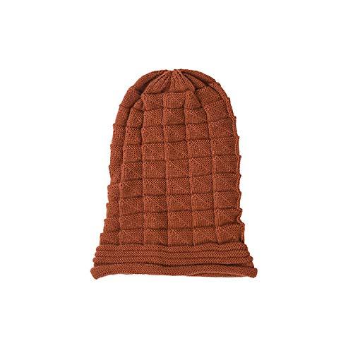 YUHUALI Plissee Cuffed Hooded Cap Damen Herbst Winter Skifahren Wollmütze Outdoor Strickmütze Wintermütze