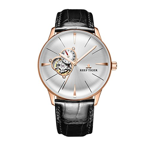 REEF TIGER Herren Uhr analog Automatik mit Leder Armband RGA8239-PWB