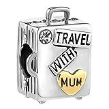 Cherris Jewellery Charm Travel with Mamá Maleta de equipaje de regalo para mamá pulsera...